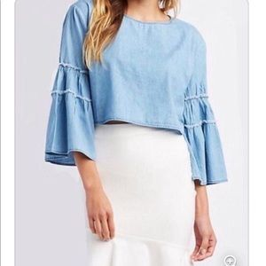 Charlotte Russe cropped chambray top